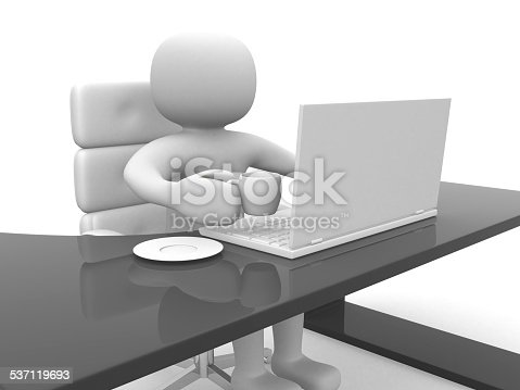 istock 3d person drinking coffee and working on laptop 537119693