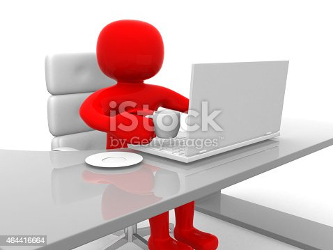 istock 3d person drinking tea and working on laptop 464416664