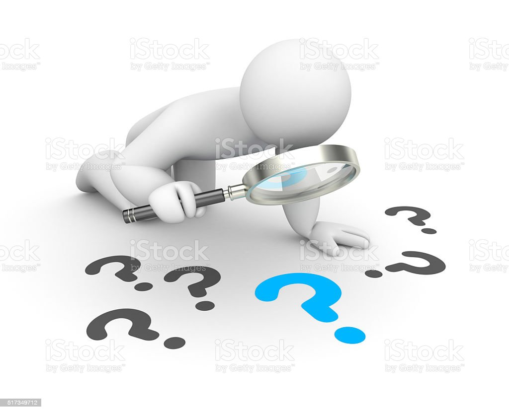 3d person examines question stock photo
