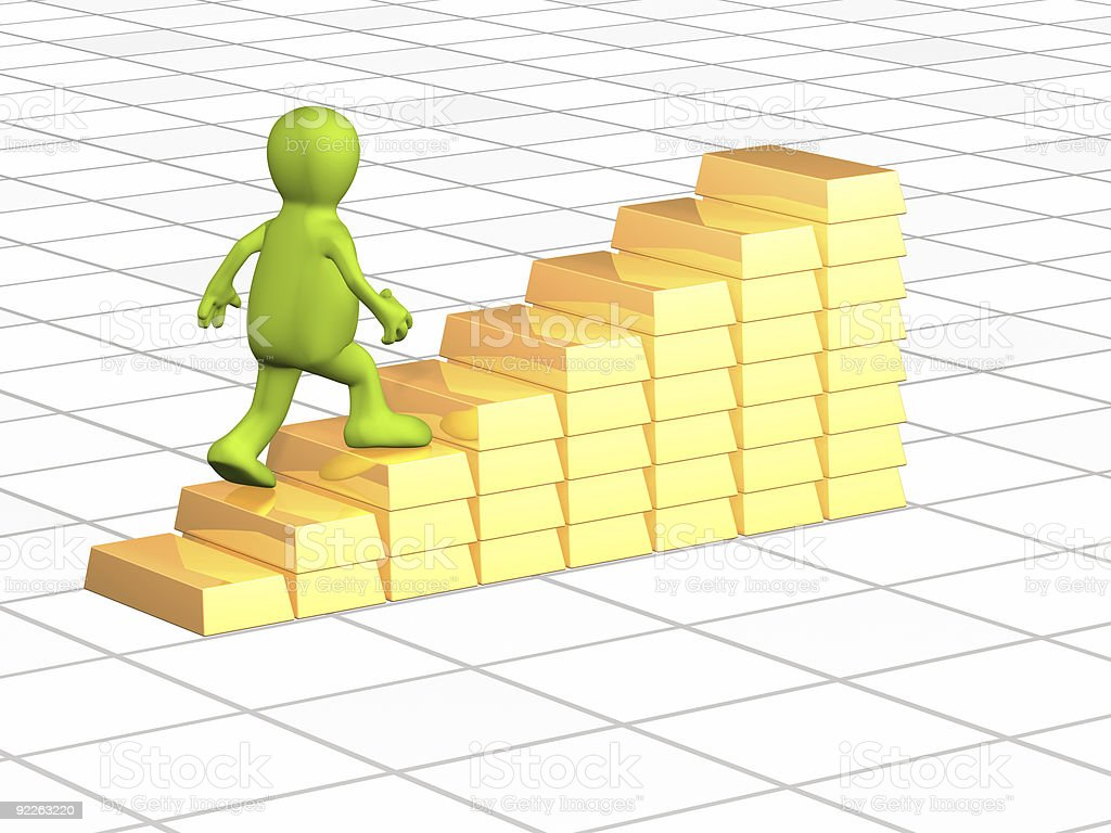 3d person, going on ladder from gold ingots royalty-free stock photo