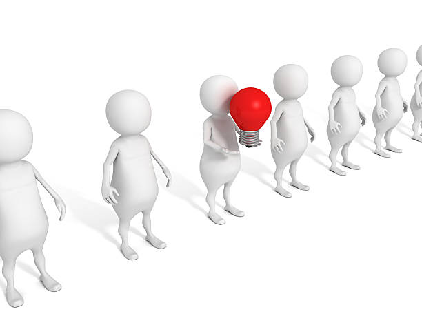 3d person in team leadeship red bulb idea concept - contributor stock pictures, royalty-free photos & images