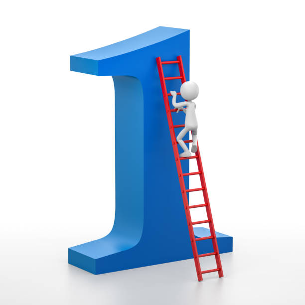3d person is climbing a ladder that leads at the top of the number one