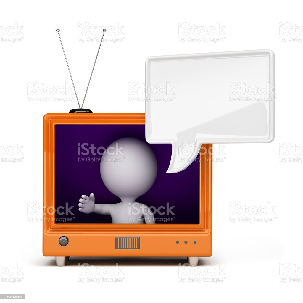 3d person on TV stock photo