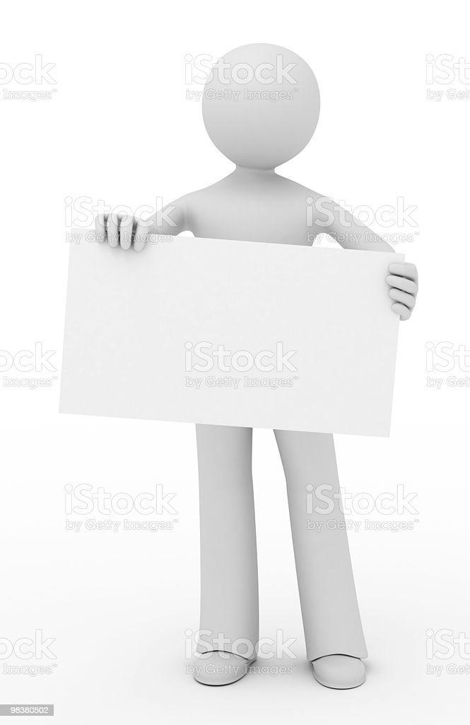 3d person showing a blank business card. royalty-free stock photo