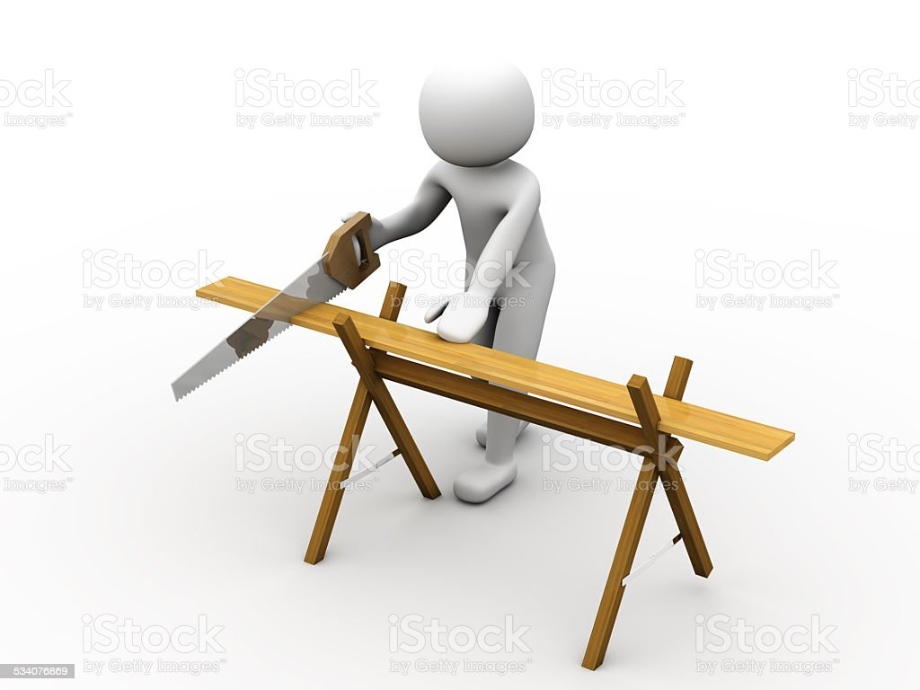 3d person using a saw stock photo