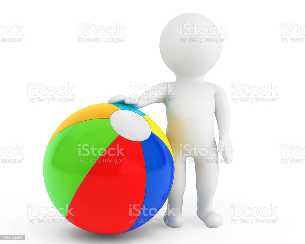 3d person with a beach ball stock photo