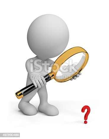 istock 3d person with a magnifying glass 492890486