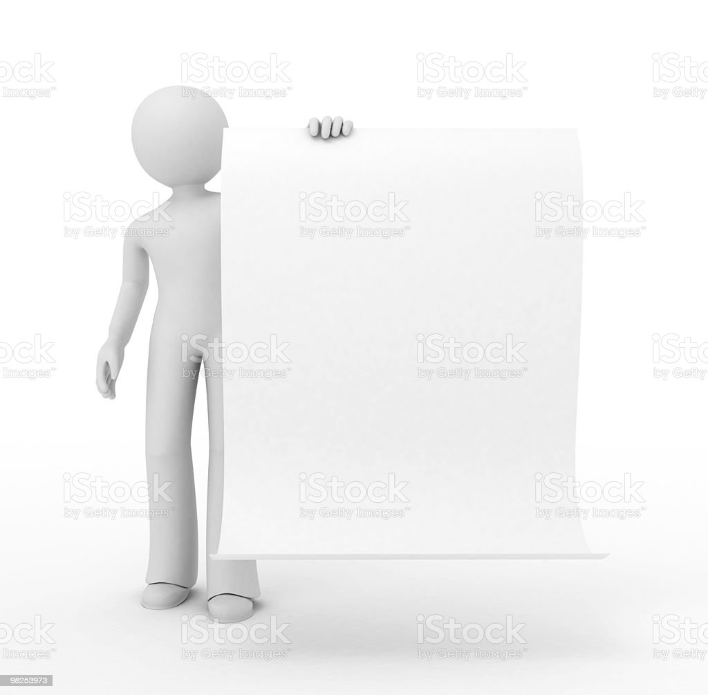3d Person with a sheet of paper. royalty-free stock photo