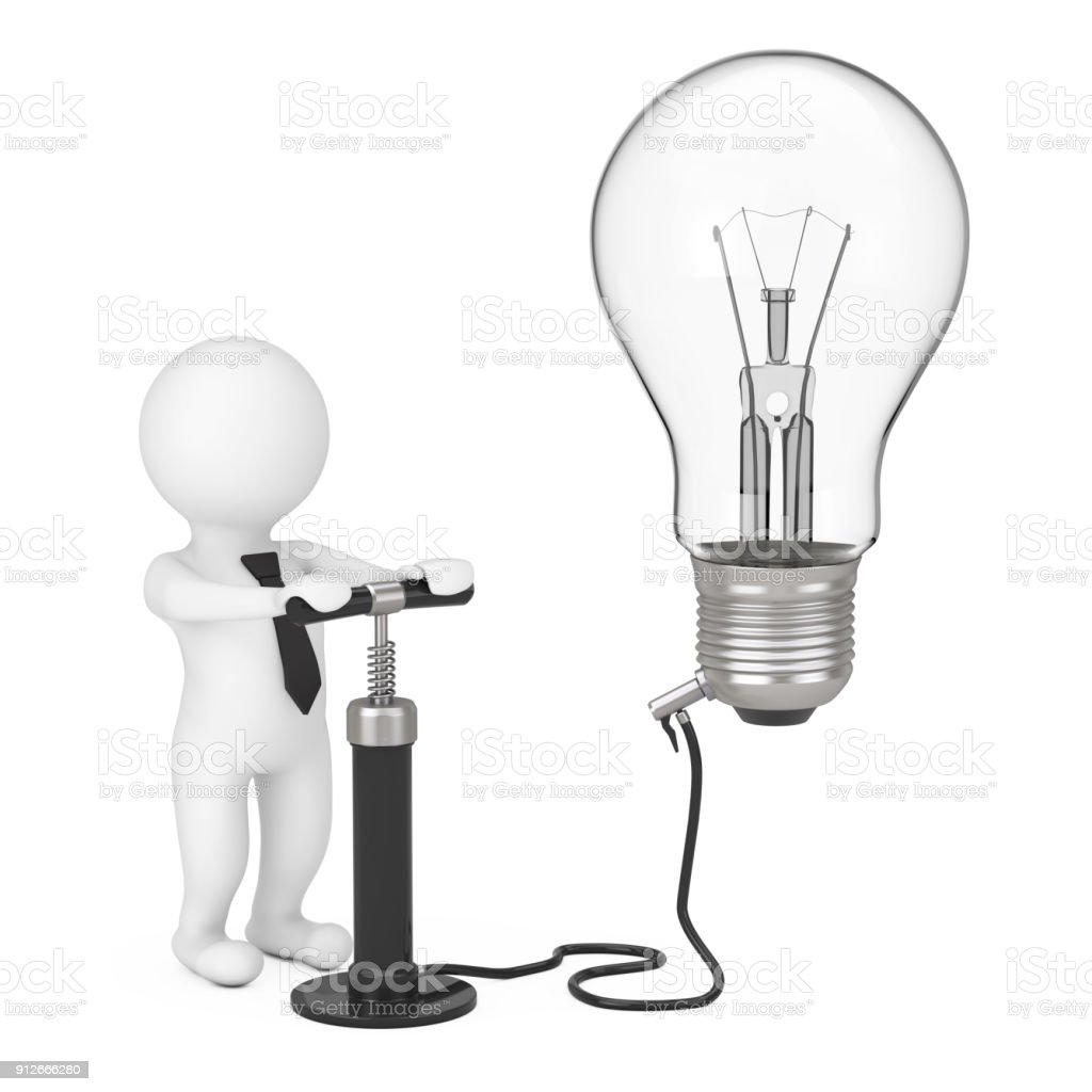 3d Person With Black Hand Air Pump Inflates Idea Light Bulb Rendering Royalty