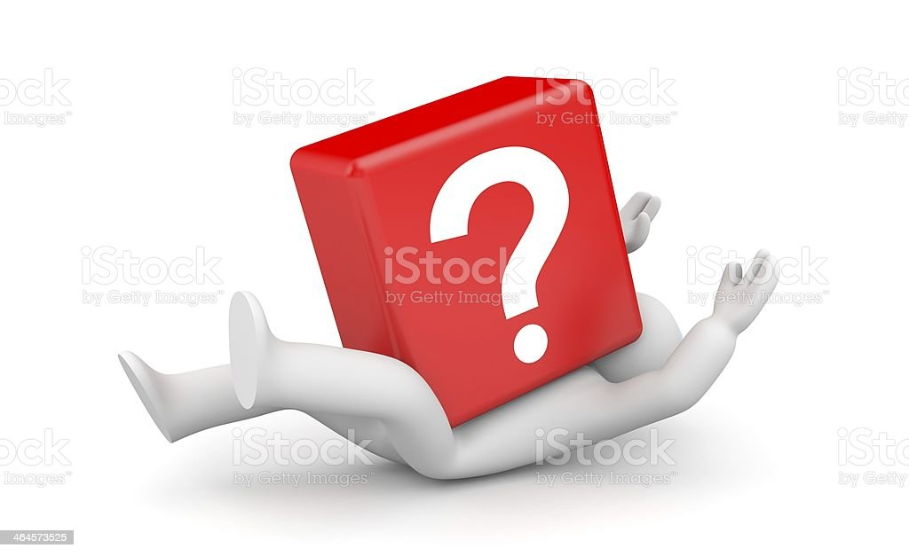 3d person with heavy red question mark royalty-free stock photo