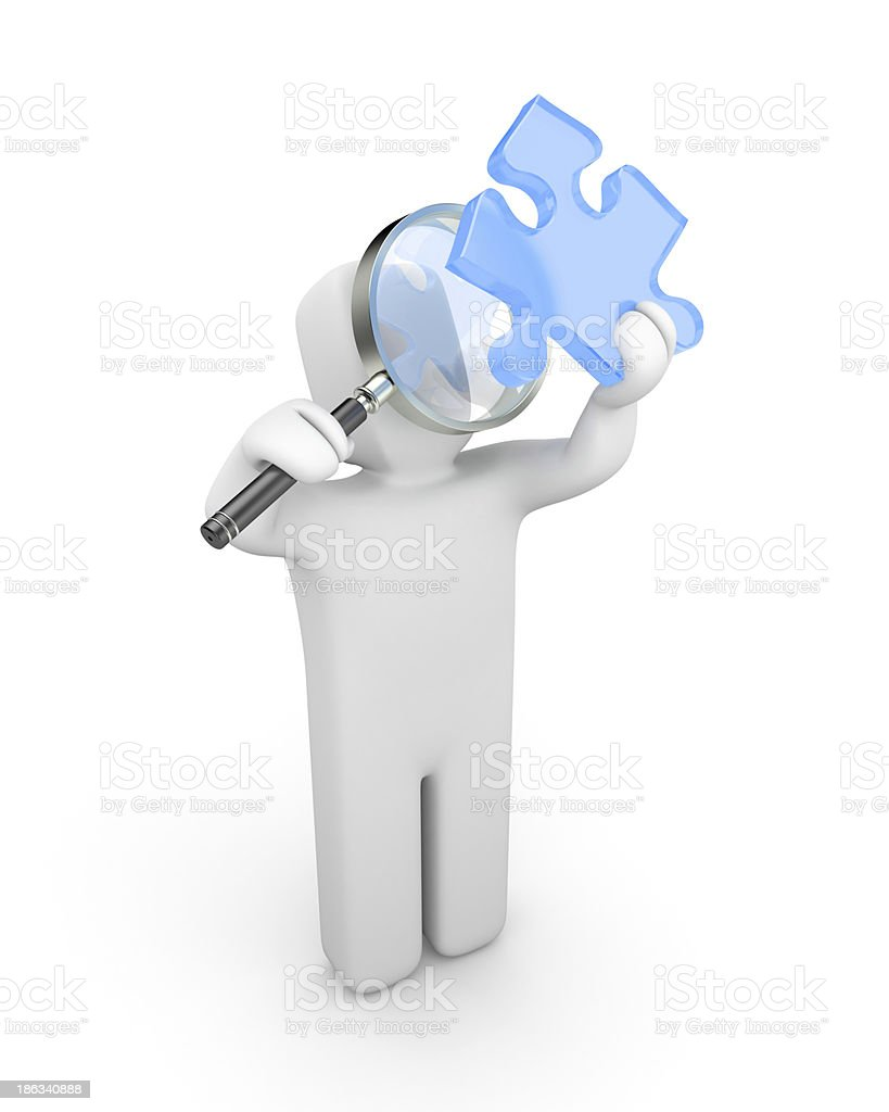3d person with magnify glass examines puzzle royalty-free stock photo