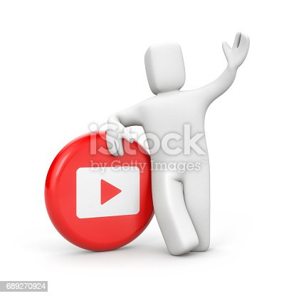 istock 3d person with Red and white play button . 3d illustration 689270924