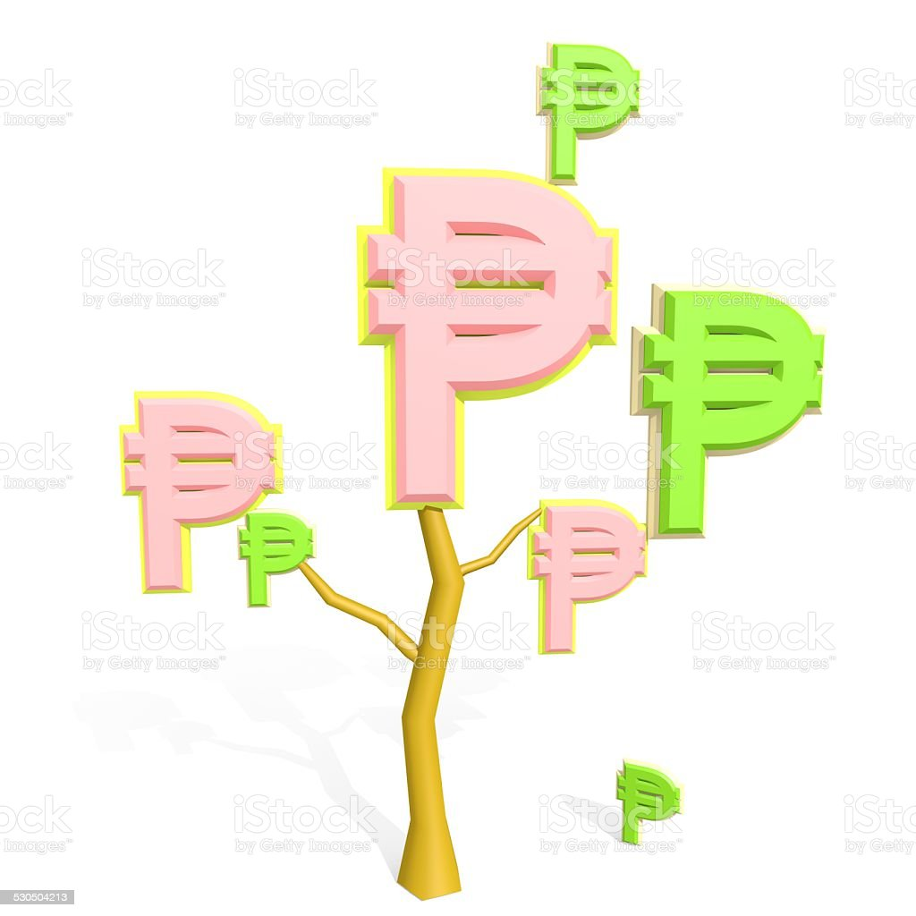 3d philippine peso sign on a tree stock photo