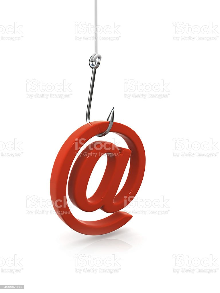 3d Phishing hook with email address stock photo