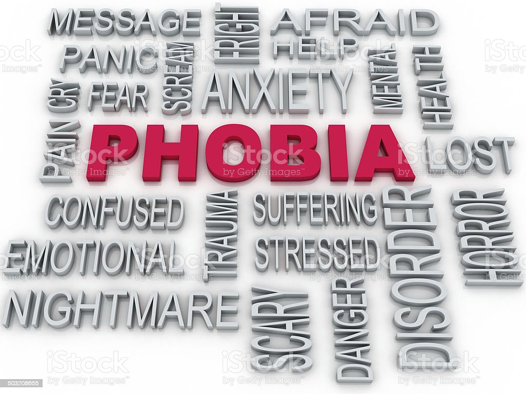 3d Phobia symbol conceptual design isolated on white. Anxiety di stock photo