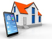 3d illustration of house with phone application over white background