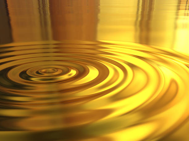 3d Picture of a golden water ripple effect stock photo