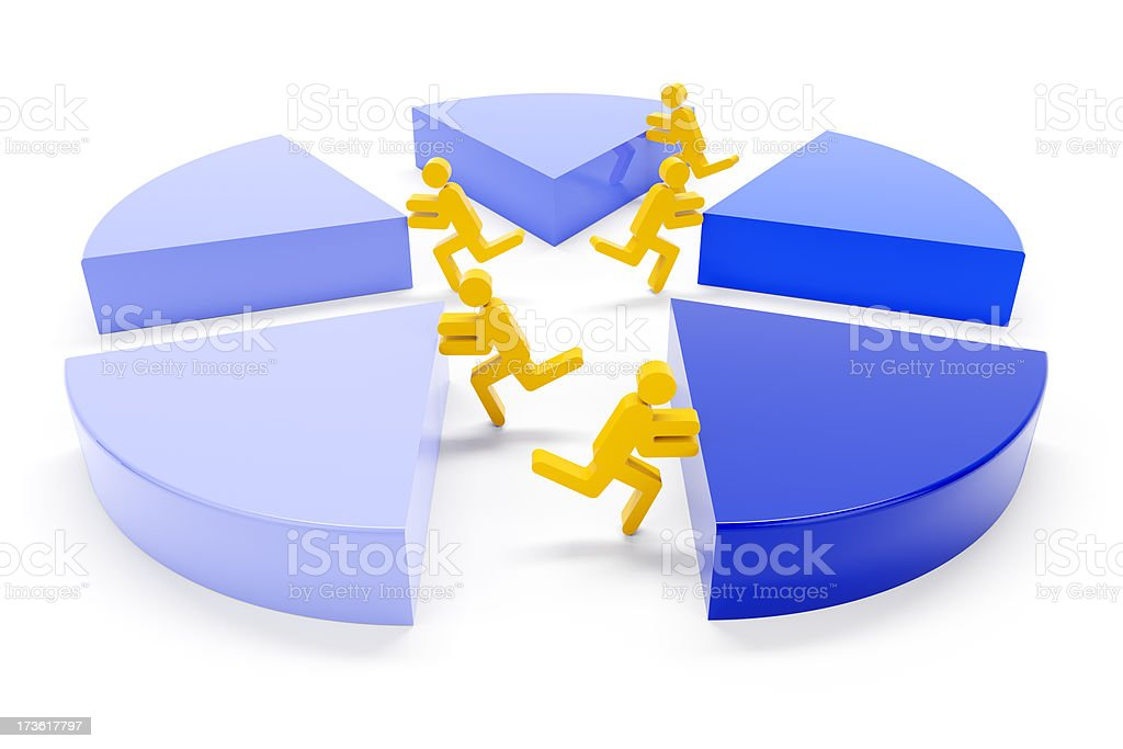 3d piechart for getting a share concept royalty-free stock photo