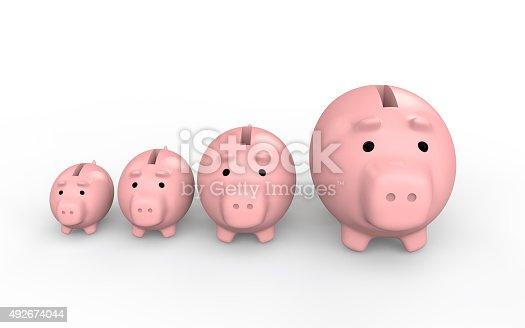 3d render of piggy banks increasing size