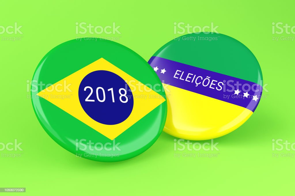 3d Pin Elections 2018. Brazil voting. stock photo
