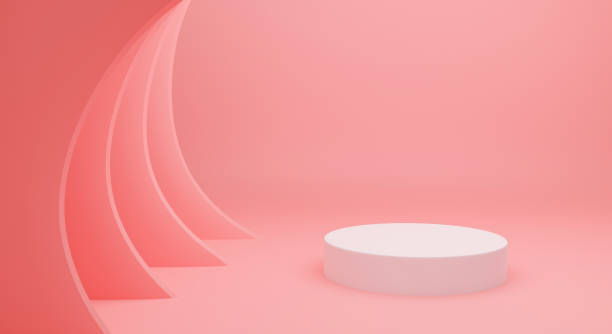 3d pink podium background abstract for mockup, banner, showcase, display. Blank white pedestal isolated on minimal background. Creative idea scene. 3d pastel cylinder shape. stock photo