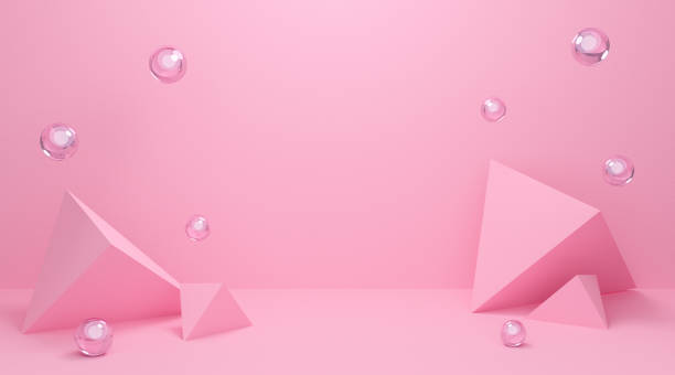 3d pink podium background texture in pastel colors. Abstract geometric shapes with triangle 3d and sphere. 3d rendering for mockup, banner. Valentines theme design concept. Creative idea minimal scene stock photo