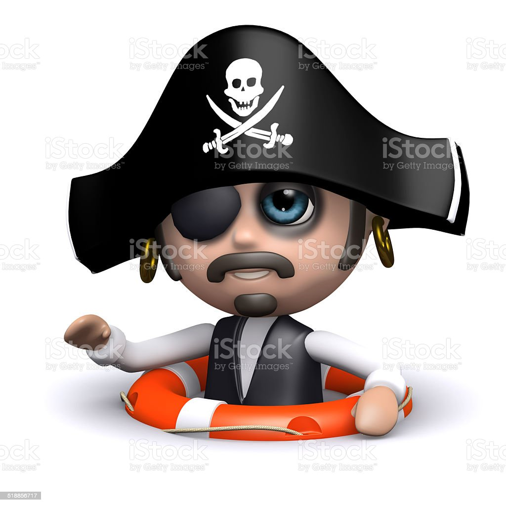 3d Pirate has been rescued stock photo
