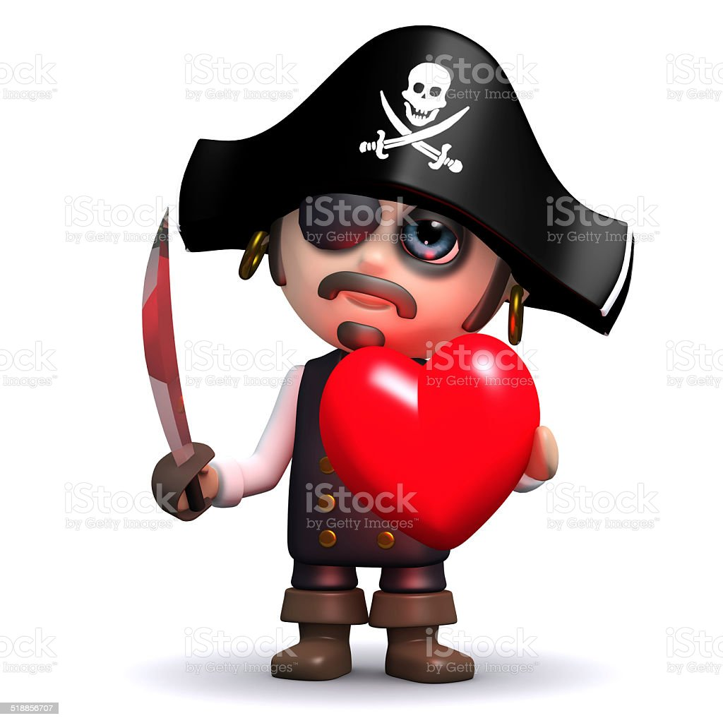 3d Pirate holds a red heart stock photo