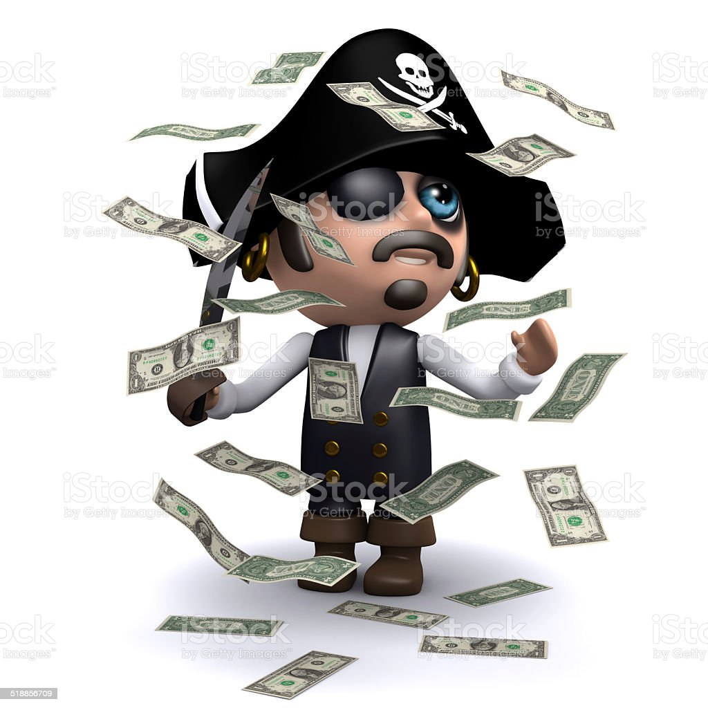3d Pirate in a windfall of cash stock photo