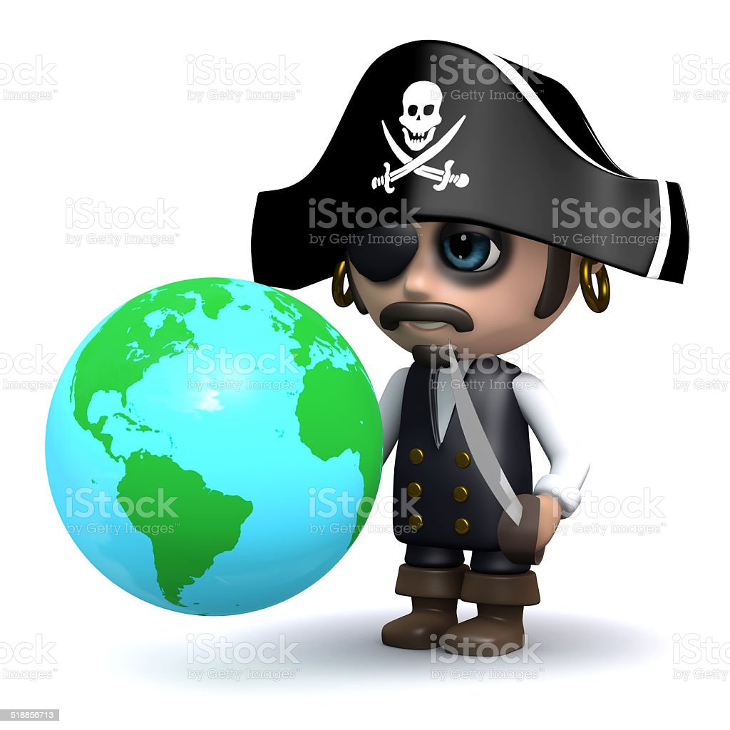 3d Pirate looks at a globe of the Earth stock photo