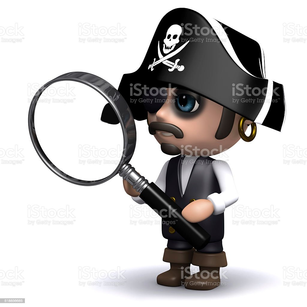 3d Pirate looks through a magnifying glass stock photo