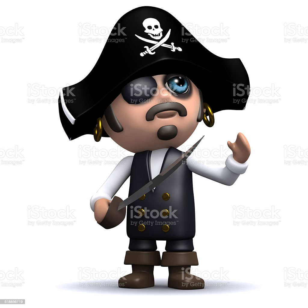 3d Pirate looks up stock photo