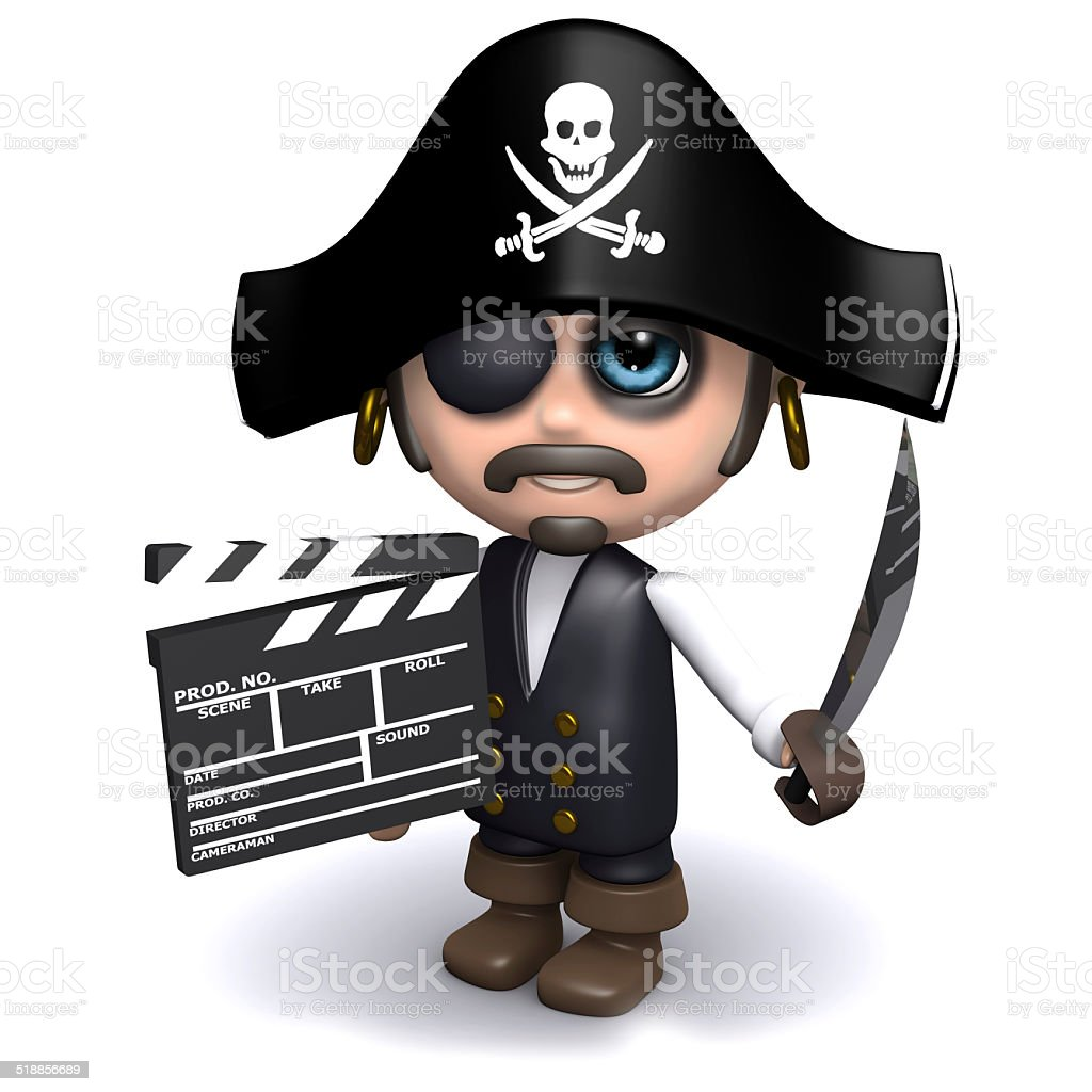 3d Pirate makes a movie stock photo