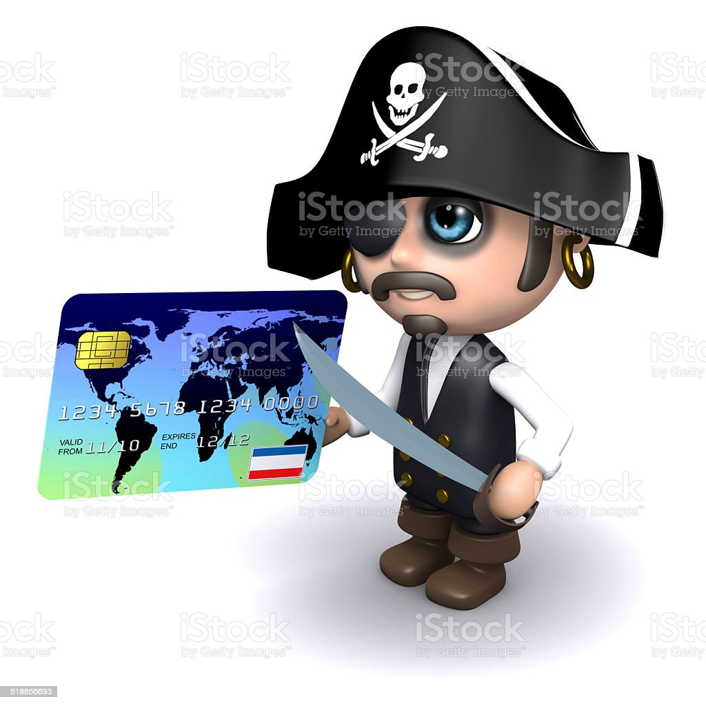 3d Pirate pays with a credit card stock photo
