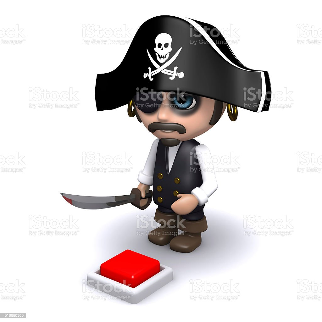 3d Pirate wants to press the red button stock photo