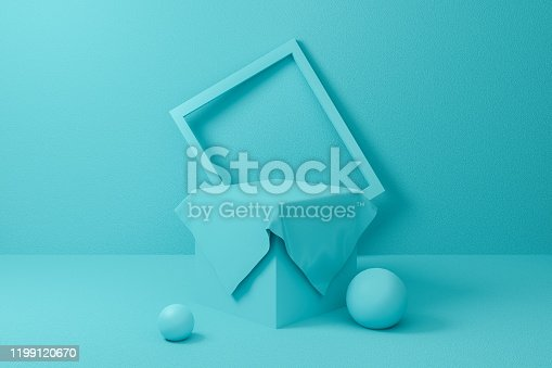 1129130396 istock photo 3d podium scene. Abstract blue or mint geometric shape group set background texture. 3d render design for display product on website. Minimal mockup pastel color. Empty showcase for advertising. 1199120670