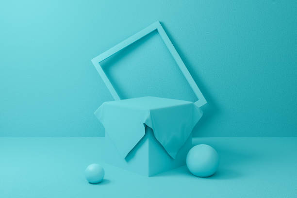 3d podium scene. Abstract blue or mint geometric shape group set background texture. 3d render design for display product on website. Minimal mockup pastel color. Empty showcase for advertising. stock photo