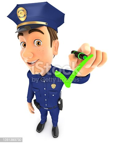 474551486 istock photo 3d policeman drawing positive check mark 1251393732
