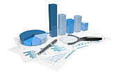 3d positive bar Graphs of financial analysis