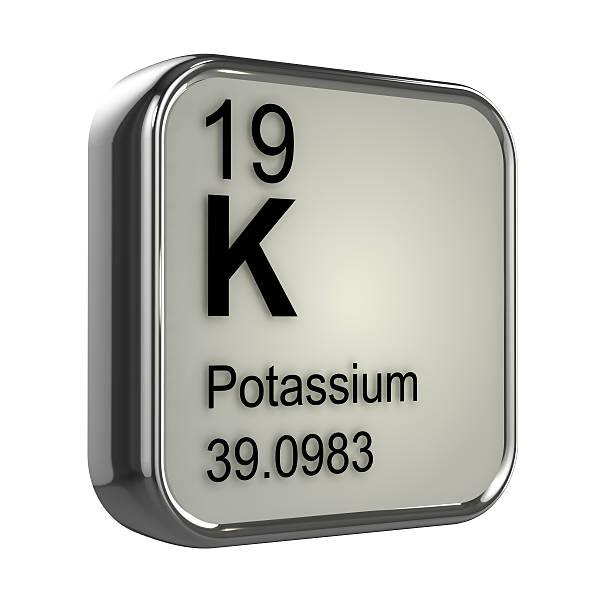 3d potassium element - kalium stockfoto's en -beelden