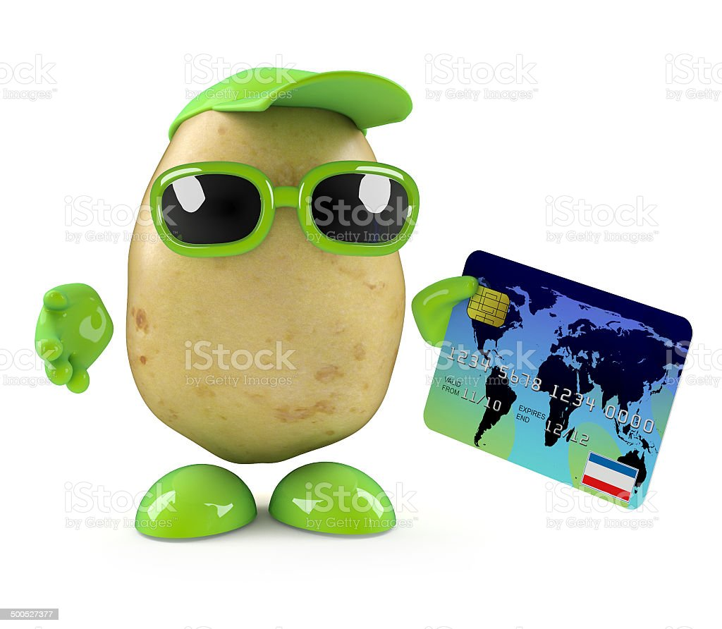 3d Potato character pays by debit card royalty-free stock photo