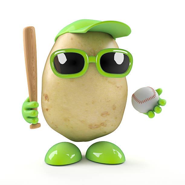 3d Potato plays baseball stock photo