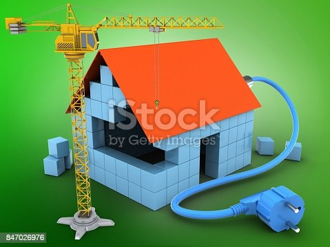 3d illustration of block house over green background with power cable and crane
