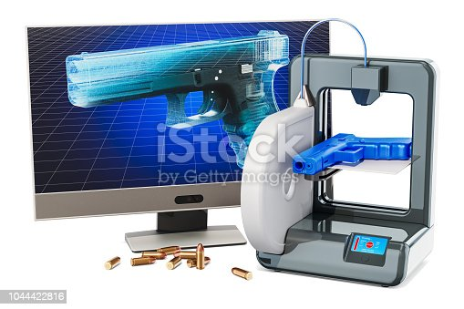 istock 3d printed firearms, gun concept. 3D rendering isolated on white background 1044422816