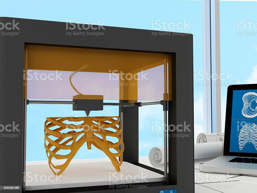 3d printed rib cage stock photo