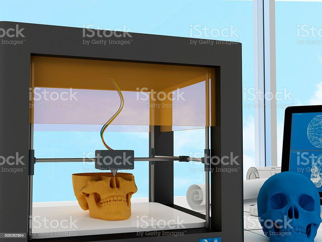 3d printed skull stock photo