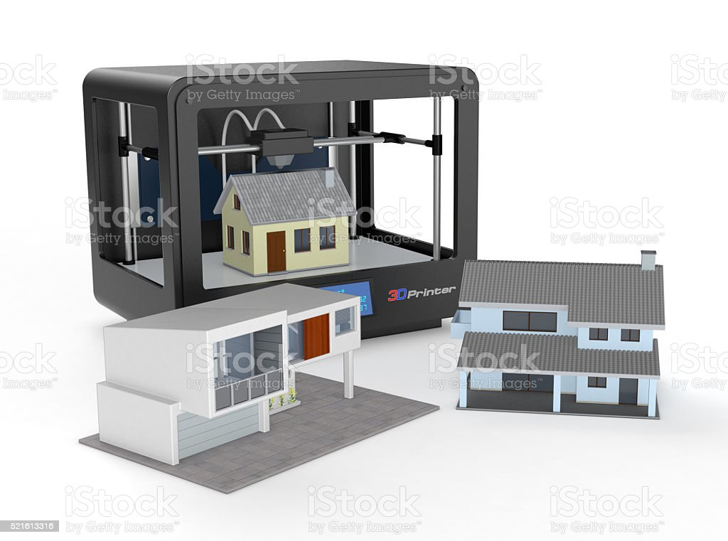 3d printer and house building, concept stock photo