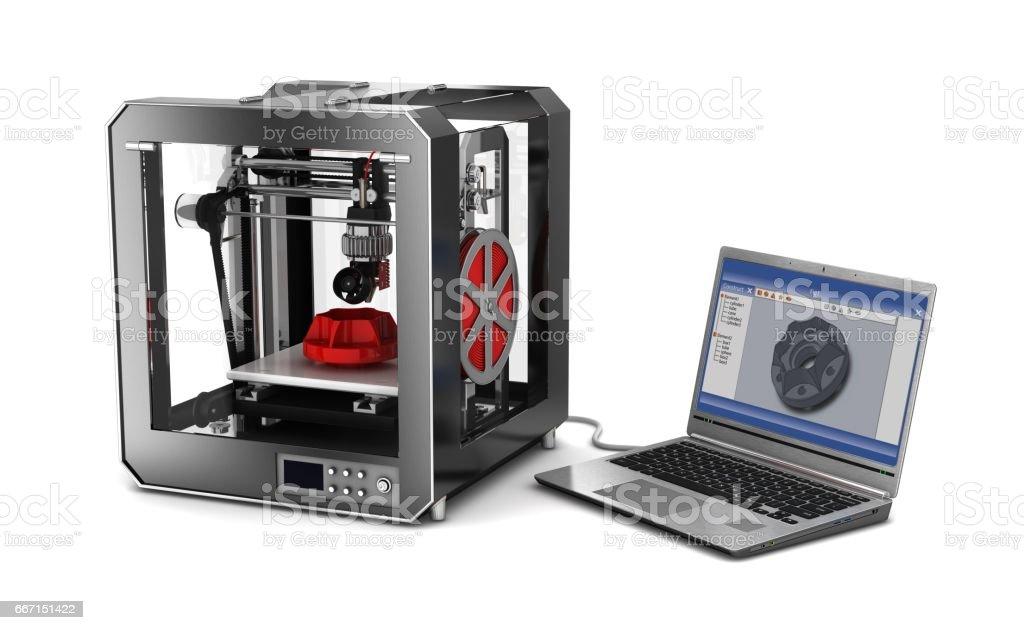 3d printer and laptop stock photo