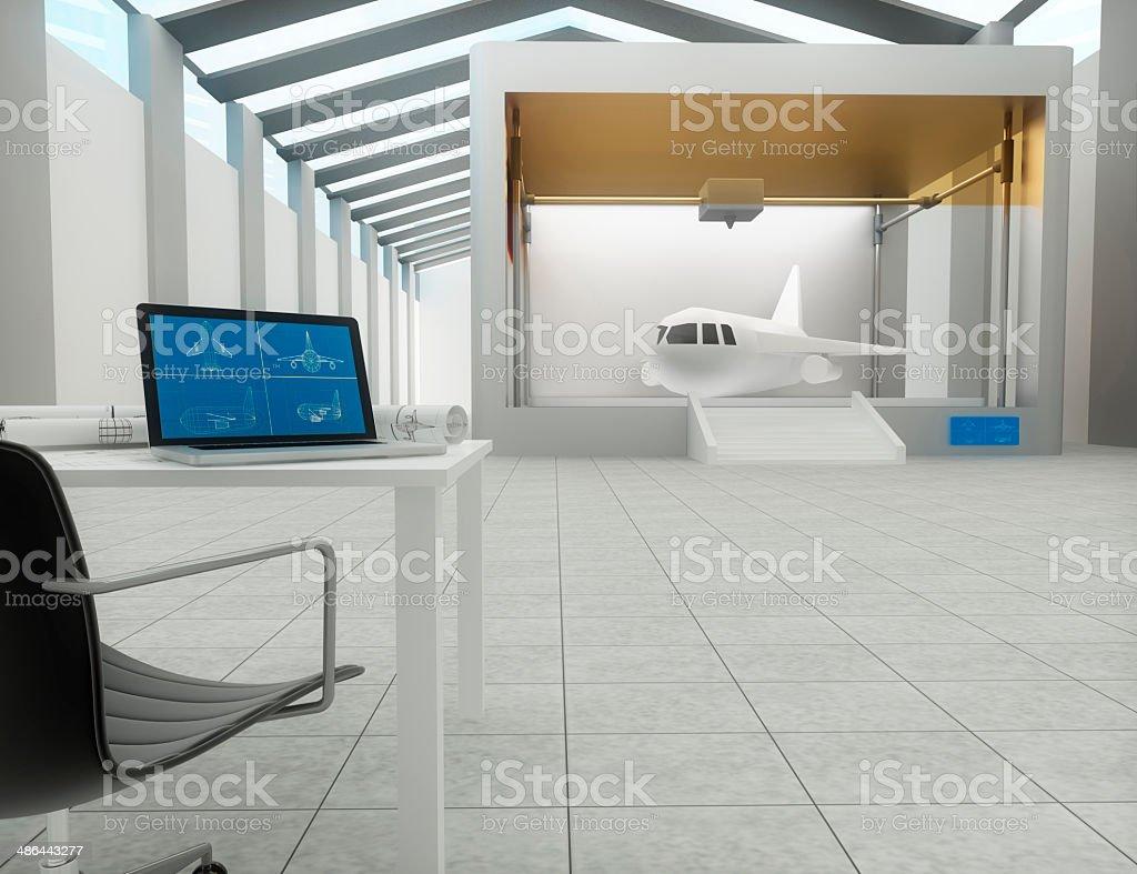 3d printer, Printing airplane stock photo
