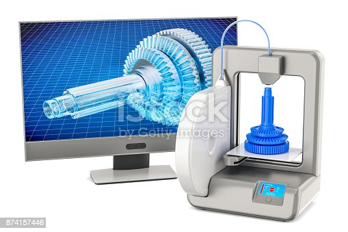 istock 3d printer with computer monitor, 3D rendering isolated on white background 874157446